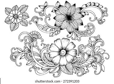 Floral doodles. Black and white design elements. Bouquet of flowers.