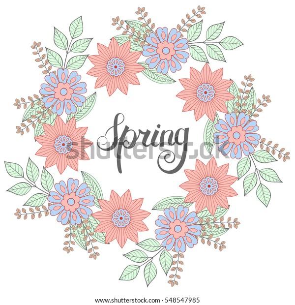 Floral Doodles Wreath Frame Zentangle Style Stock Vector ...
