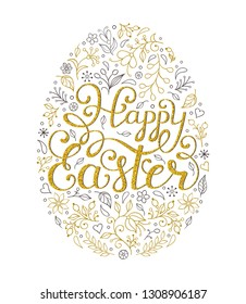 Floral easter egg with handwriting inscription Happy Easter on white background.Vector illustration.