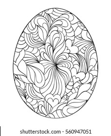 Floral easter egg on white background.Coloring page for children and adult. Vector illustration.