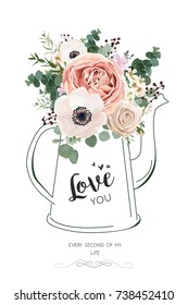 Floral elegant card vector Design: Rose peach flower white wax, Anemone green Eucalyptus greenery berry bouquet in line hand drawn kettle vase illustration. Elegant rustic Wedding invite love you text