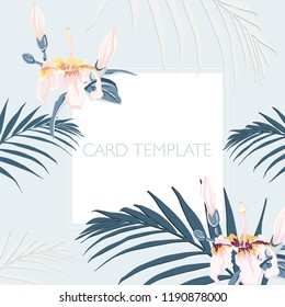 Floral elegant invite card design: tropical palm leaves and paradise pink flowers. Can be used as invitation card for wedding, birthday and other holiday and summer and spring background.