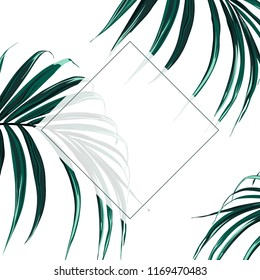 Floral elegant invite card gold frame design: tropical exotic dark palm leaves. Can be used as invitation card for wedding, birthday and other holiday and summer and spring background.