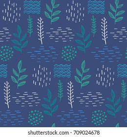 Floral elegant seamless hand-drawn pattern scandinavian design style. Dark blue background. Vector illustration
