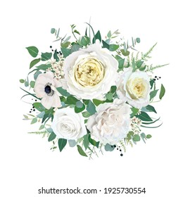 Floral elegant wedding round bouquet vector watercolor editable illustration. Tender cream yellow cabbage garden Rose, white anemone, ivory wax flower, Eucalyptus green leaves, branches, fern greenery