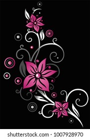 Floral element with pink blossoms. Beautiful summer flowers.