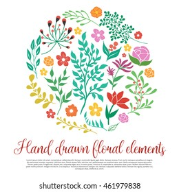 Floral elements collection in round shape with green twigs colorful flowers script font isolated vector illustration