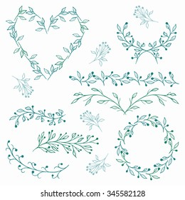 Floral elements collection. Vector set includes floral frames, border, divider, heart shape, branches and leaves. Hand drawn elements.
