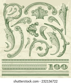 Floral elements  in dollar style for retro label design