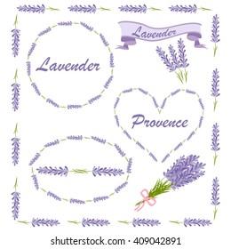 Floral elements for logo or decor. Lavender icons set: flowers, calligraphy, floral elements. Vector illustration