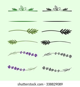 Floral elements for logo or decor. Simple branches with leafs. Can use with text.