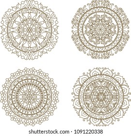 Floral elements mandala silhouettes. Circular pattern of traditional motifs and vintage oriental ornaments. For coloring book, laser cut and digital stamps