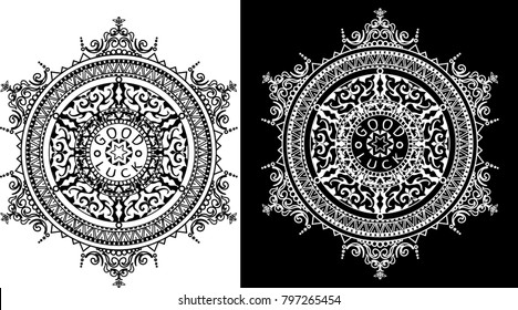 Floral elements silhouettes. Circular pattern of traditional motifs and vintage oriental ornaments. Black and white design