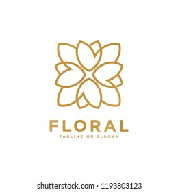 Floral emblem design. Flower icon concept. Luxury flower logo related to Boutique, Hotel, Restaurant, Jewelry, Resort or Interior