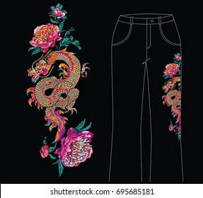 Floral embroidery with dragon in traditional oriental style. Embroidered pink chrysanthemum and golden dragon on a black background. Embroidery for jeans, vertical borders or patches
