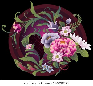 Floral embroidery pattern in Japanese kimono style