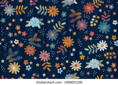 Floral embroidery seamless pattern. Colorful flowers, leaves, berries and dots on striped background.