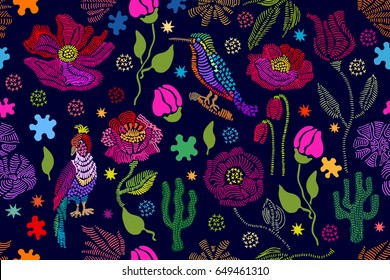 Floral embroidery. Seamless vector pattern with birds, plants and flowers. Vintage motifs. Retro textile design collection. Colorful on dark.