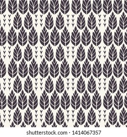 Floral ethnic leaf motif scandi style. Vector seamless pattern. Folk art nature carved block textiles swatch. Modern monochrome home decor. Isolated motif. Trendy plant leaves foliage all over print.
