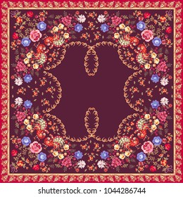 Floral ethnic shawl in russian style. Peacocks, roses, tulips, paisley border and little flowers on dark purple background. Vector summer design.