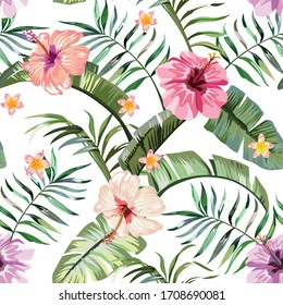 Floral exotic tropical seamless pattern tropic hawaiian wallpaper. Vivid hibiscus and plumeria (frangipani) flowers and green palm banana leaves on a white background. Beach backdrop repeating design.