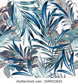 Floral fashion tropical vector pattern with palm leaves in watercolor style