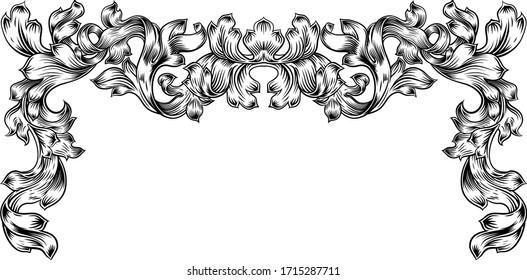 A floral filigree frame border pattern scroll laurel leaf baroque vintage style design motif