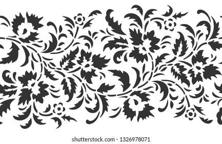 Floral filigree seamless border. Laser cut pattern design. Vector illustration.