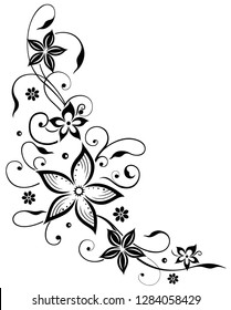 Floral filigree tendril with flowers. Summer, black flowers.
