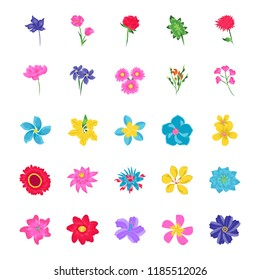 Floral Flat Vector Icons