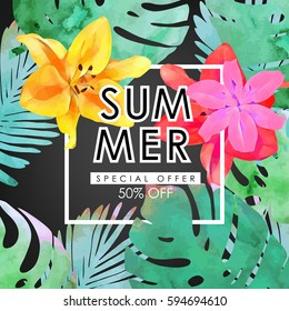 Floral flayer or discount voucher vector template. Trendy summer illustration. Tropical leaves and exotic flowers texture on solid grey background.