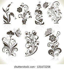Floral flower vector design elements isolated on aged color background. Set 22.