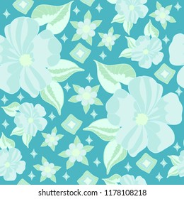 Floral Flowers Hibiscus seamless vector pattern turquoise light blue