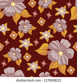 Floral Flowers Hibiscus seamless vector pattern brown and gold