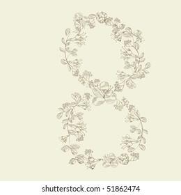 Floral font. Number 8