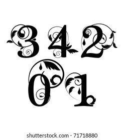 Floral font. Numbers from 0 till 4
