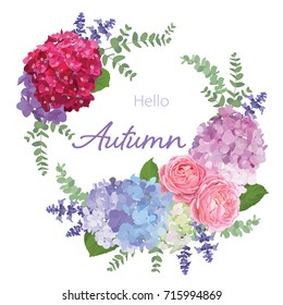 Floral frame with autumn hydrangea flowers, rose, lavender, and leaf on white background. Vector set of blooming flower for your design. Adornment for wedding invitations and greeting card.