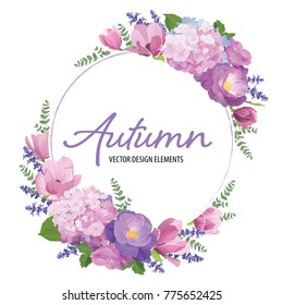 Floral frame with autumn hydrangea flowers, rose, magnolia and lavender on white background. Vector set of blooming floral for wedding invitations and greeting card design.