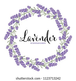 Floral frame with autumn lavender flowers on white background template. Vector set of blooming floral for holiday invitations, greeting card and fashion design.
