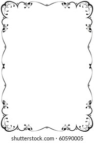 a floral frame black and white