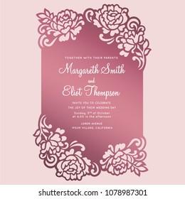 Floral frame card. Laser cut invitation template.