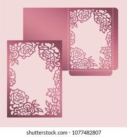 Floral frame card. Wedding invitation design for laser cutting.