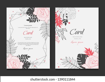 Floral Frame Card Wedding Invitation
