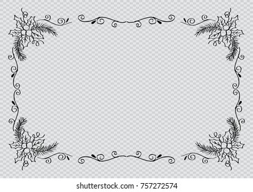 Floral frame christmas background