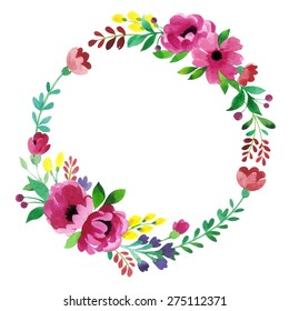 Floral Frame. Cute succulents arranged un a shape of the wreath perfect for wedding invitations and birthday cards. Vintage leaves, flowers and branches. Watercolor. Hand painting.