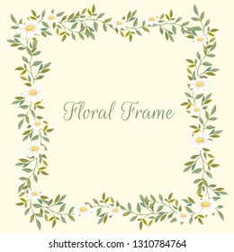 Floral frame with daisies and leaves. Vector design