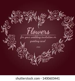Floral frame design elements for wedding invitation and greeting card. Hand drawn. Line art. Sketch.
