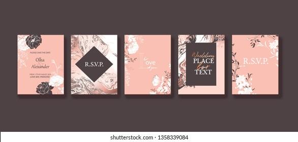 Floral frame design. Wedding invitation arrangement. Botanical composition. Hand drawn flowers, roses, leaves. Composition for card, invitation, save the date. Rose gold  marble texture.