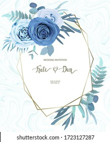 Floral frame with eucalyptus branches and  blue roses. Wedding invitation, save the date, rsvp, invite card. Vector illustration. Celebration vintage template