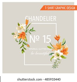Floral Frame Graphic Design - Summer Lily Flowers - for T-shirt, Fashion, Prints - in Vector